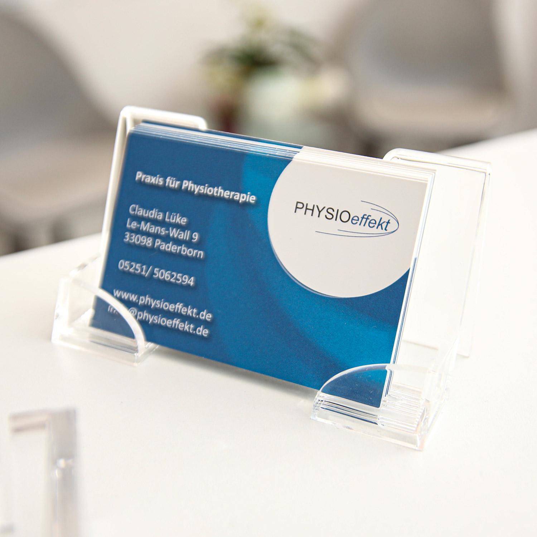 Visitenkarte Physioeffekt • Praxis für Physiotherapie Paderborn • Krankengymnastik Paderborn • Wellness und Massage Paderborn